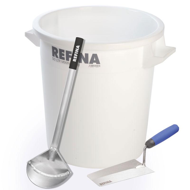 """50 ltr Mixing Tub + Bucket Scoop + 8"""" Bucket Trowel"""