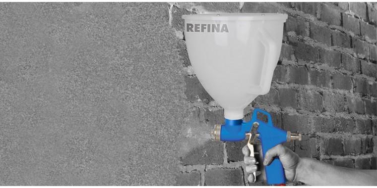 Hopper guns for spraying masonry, tyrolean coatings and render